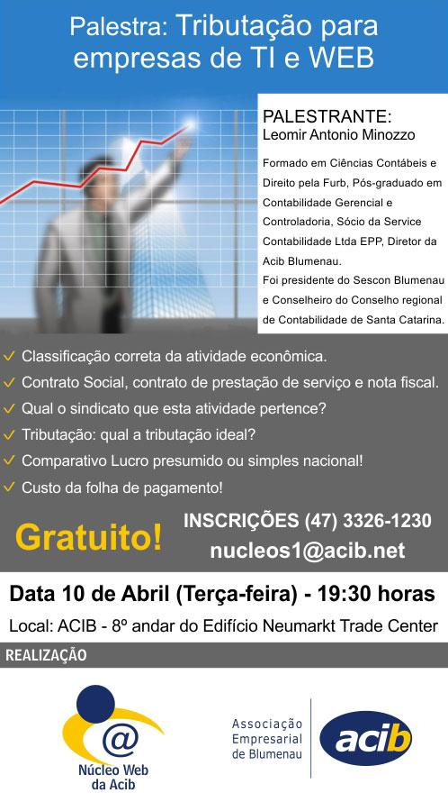 Palestra gratuita sobre tributação para empresas de TI com Leomir Minozzo